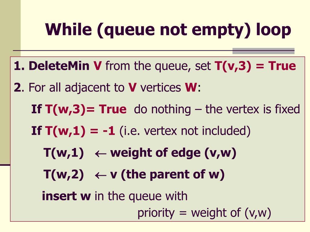 While (queue not empty) loop