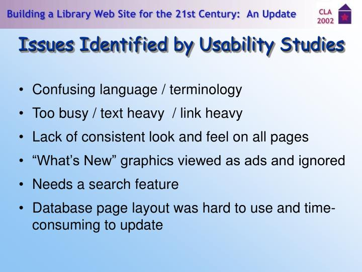 Issues Identified by Usability Studies