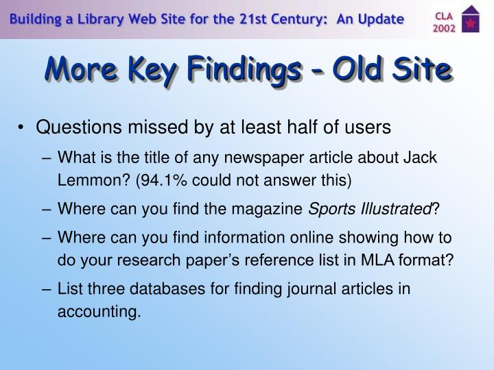 More Key Findings - Old Site