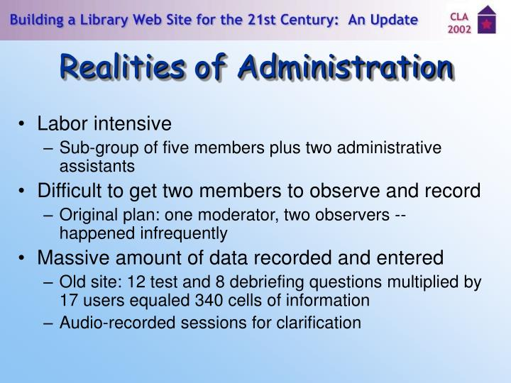 Realities of Administration