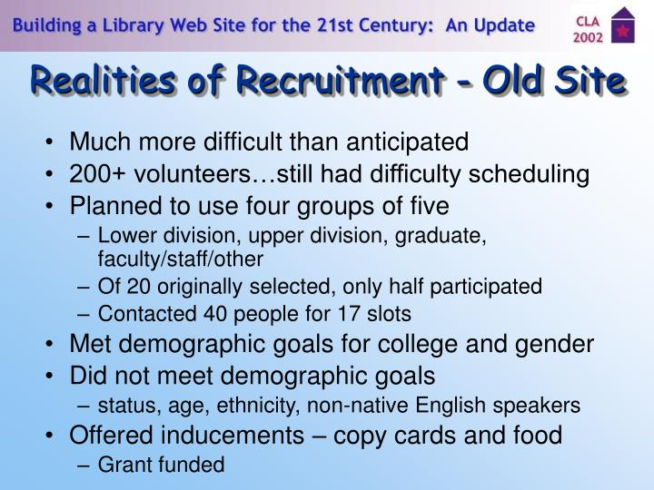 Realities of Recruitment - Old Site