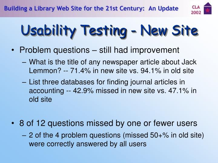 Usability Testing - New Site