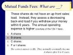 mutual funds fees what are
