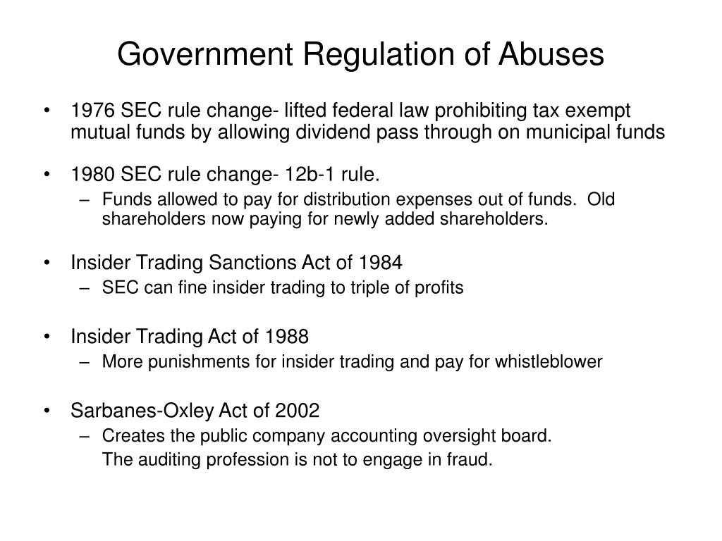 Government Regulation of Abuses