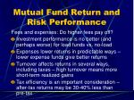 mutual fund return and risk performance27