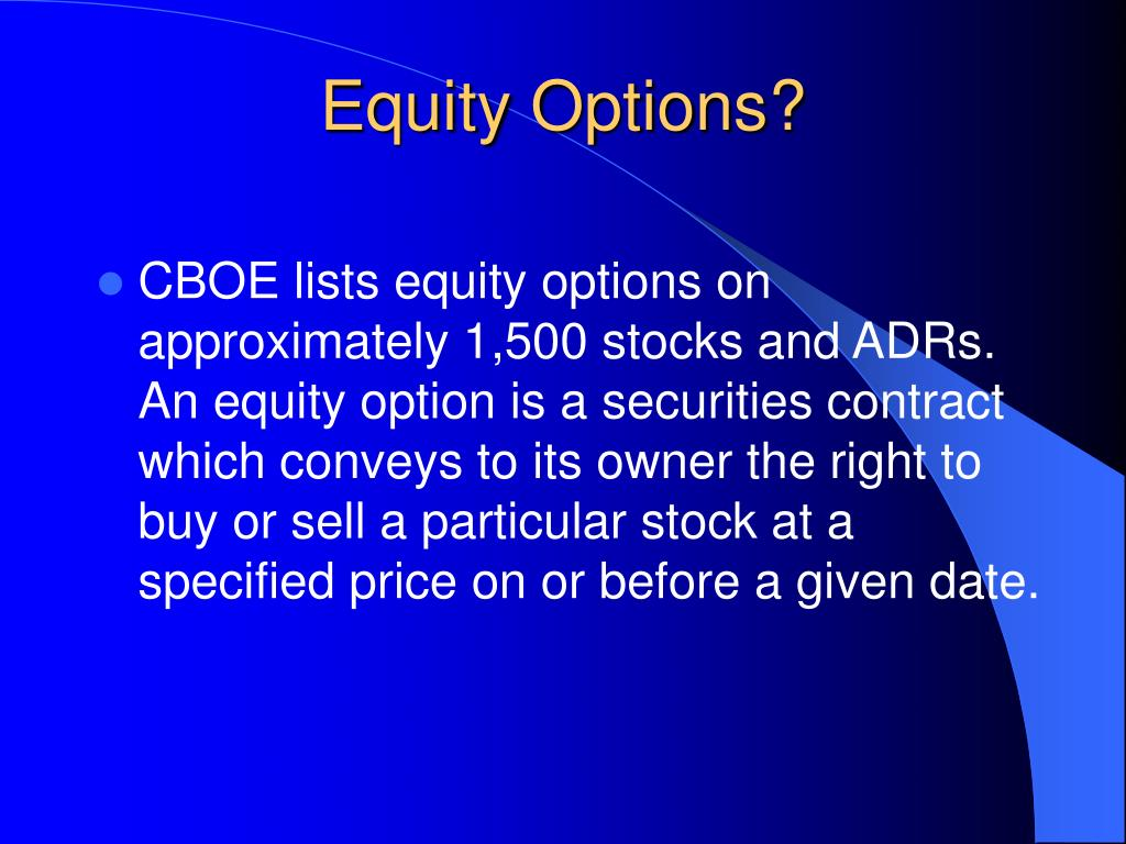 Equity Options?