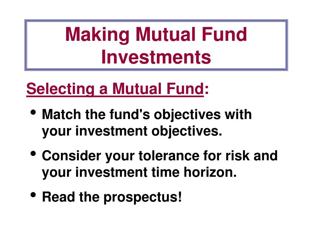 Making Mutual Fund Investments