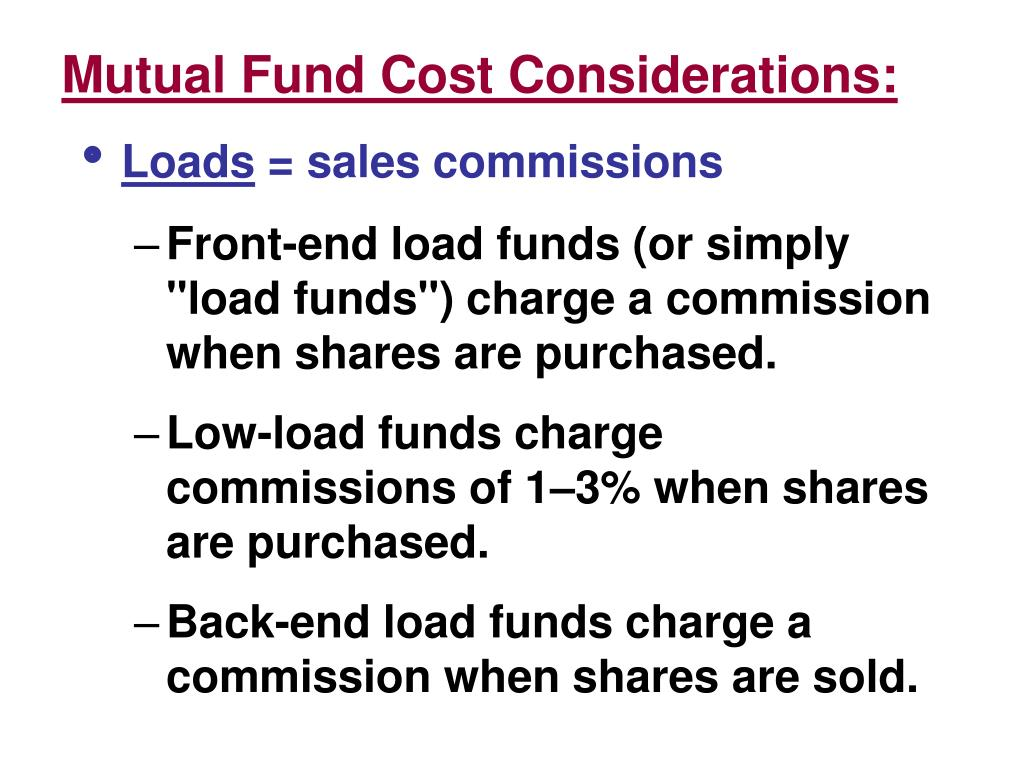 Mutual Fund Cost Considerations: