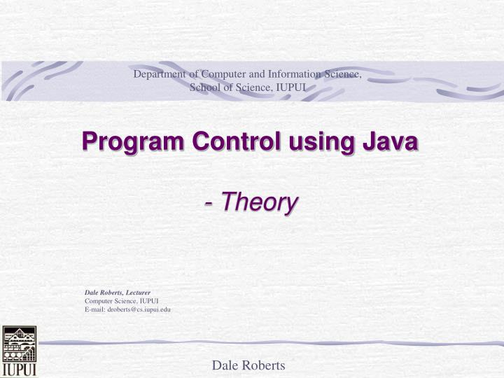 Program control using java theory