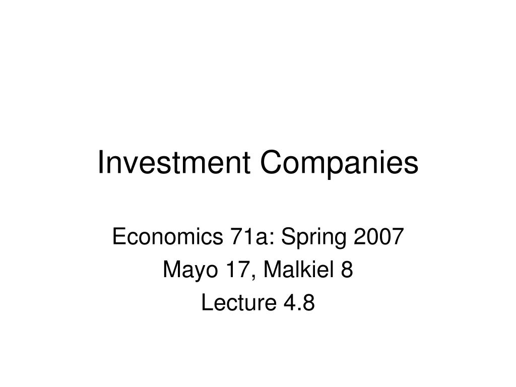 Investment Companies