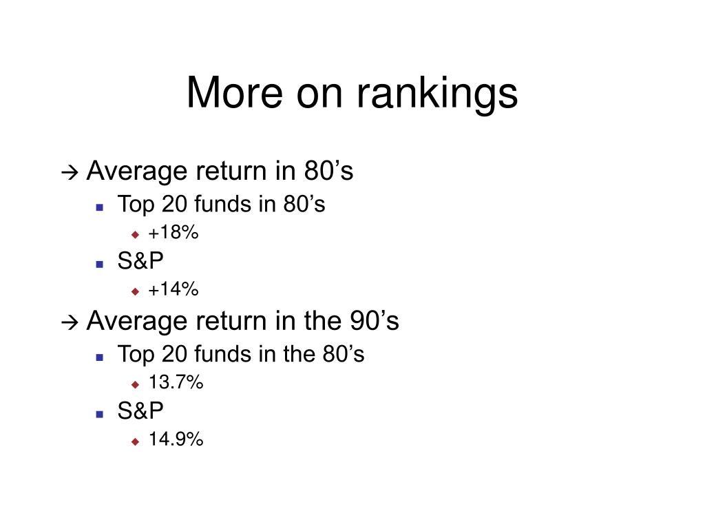 More on rankings