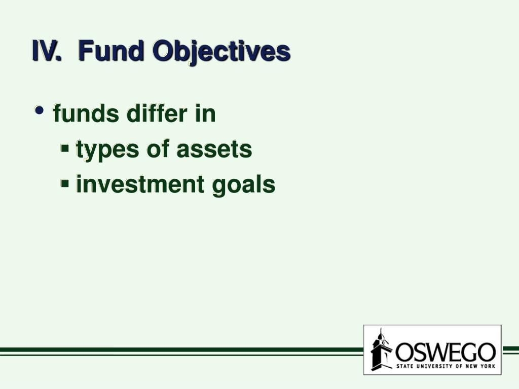 IV.  Fund Objectives