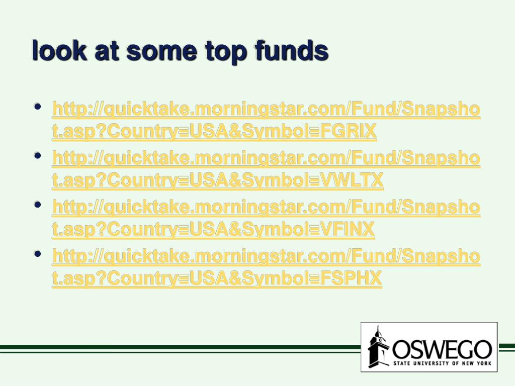 look at some top funds