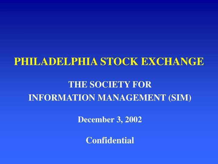 Philadelphia stock exchange