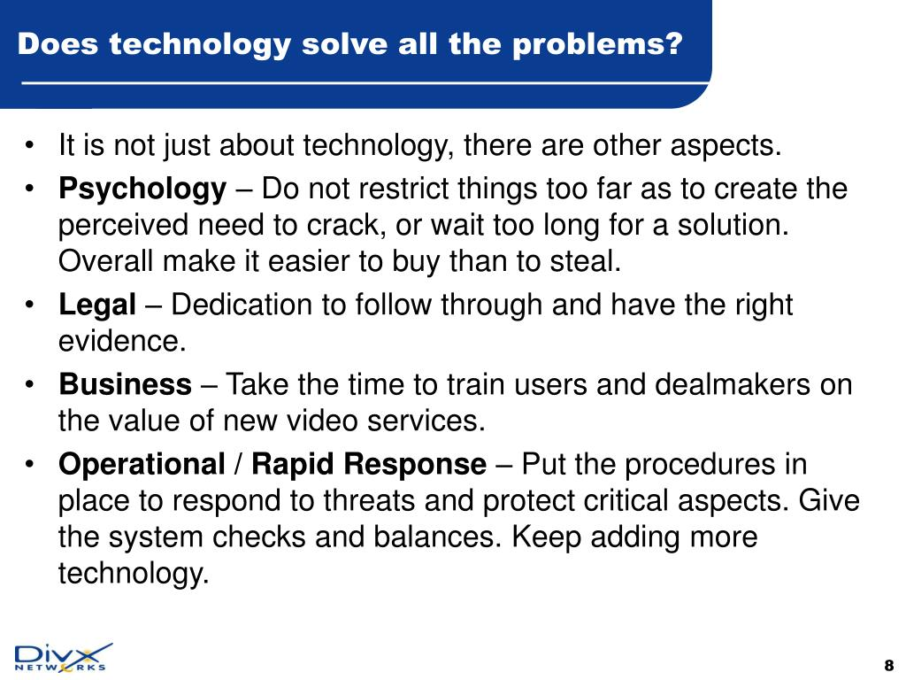 Does technology solve all the problems?
