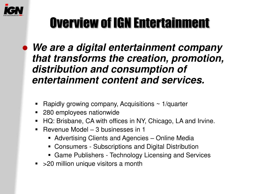 Overview of IGN Entertainment