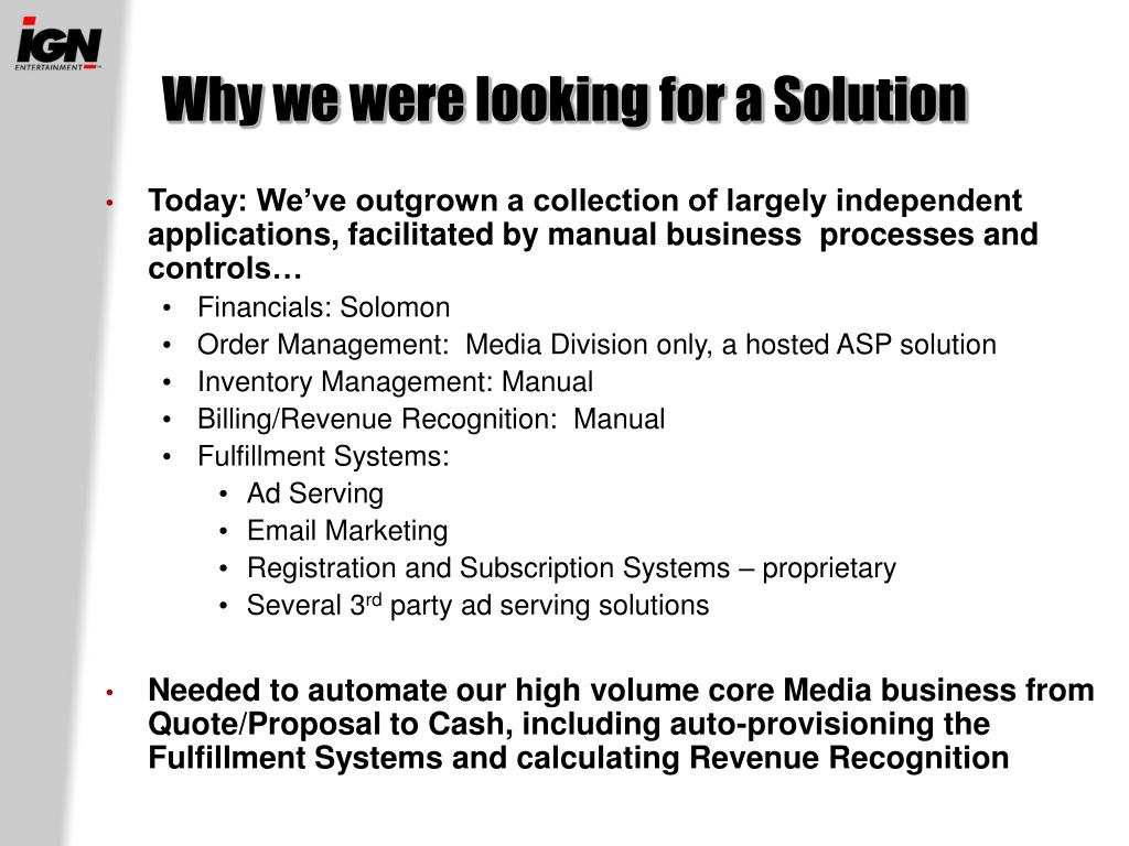 Why we were looking for a Solution