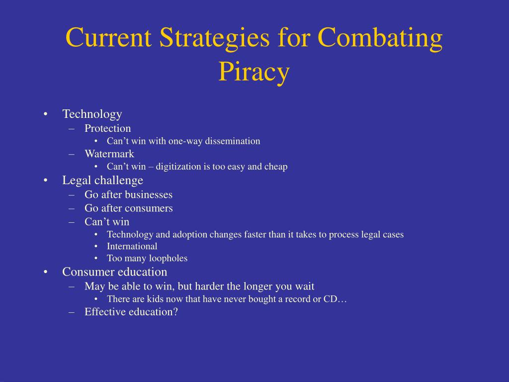 Current Strategies for Combating Piracy
