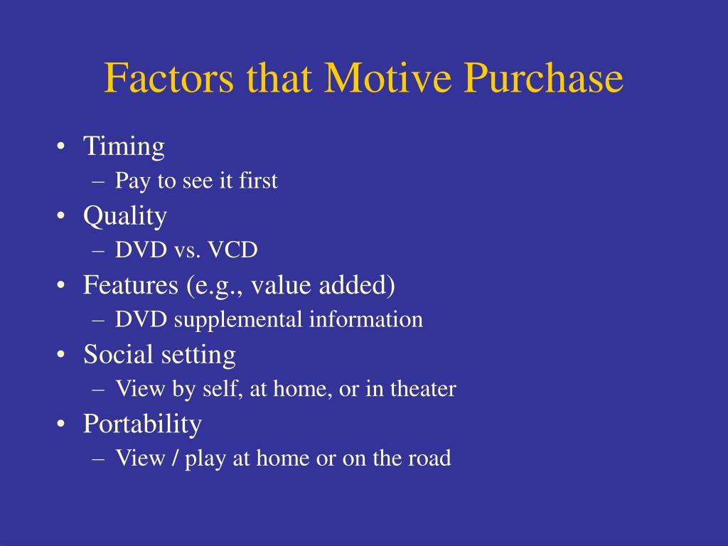 Factors that Motive Purchase