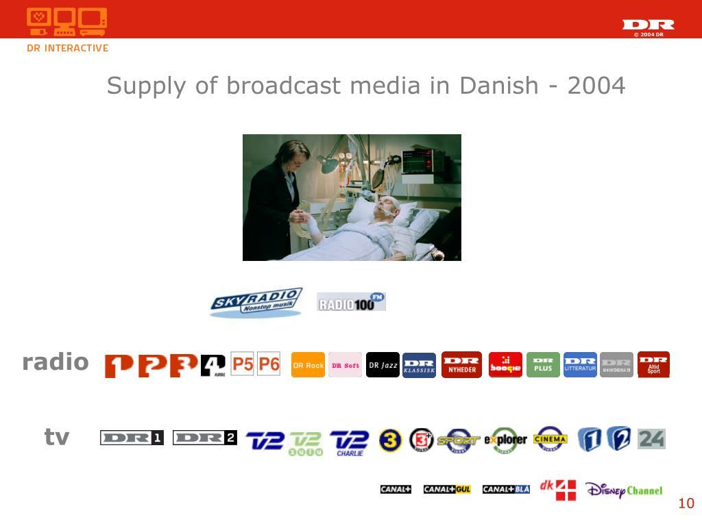 Supply of broadcast media in Danish - 2004