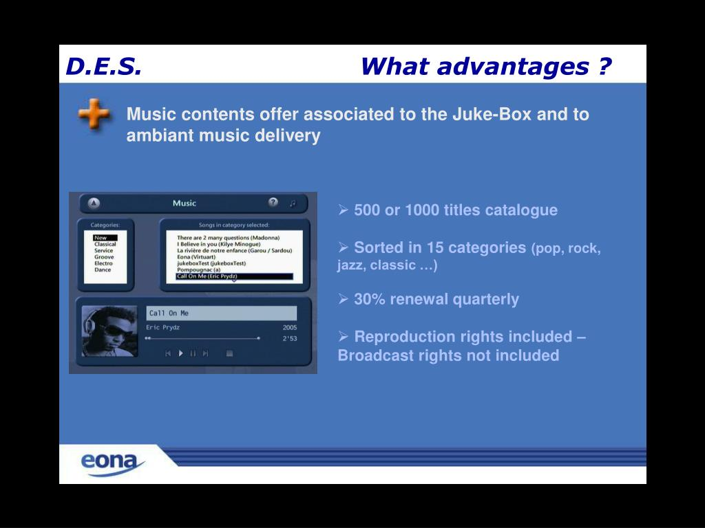 Music contents offer associated to the Juke-Box and to ambiant music delivery