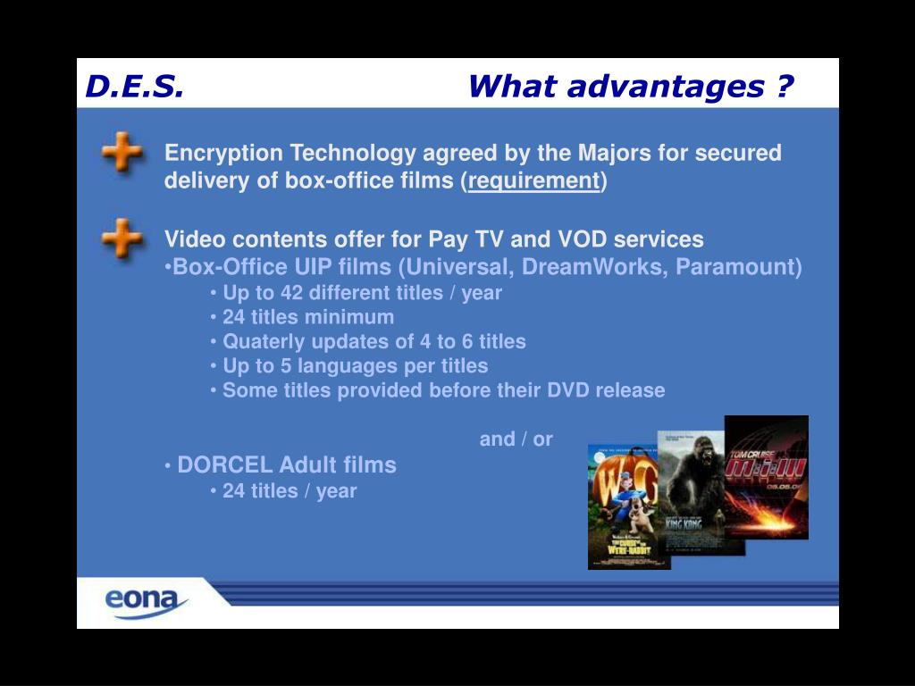 Encryption Technology agreed by the Majors for secured delivery of box-office films (