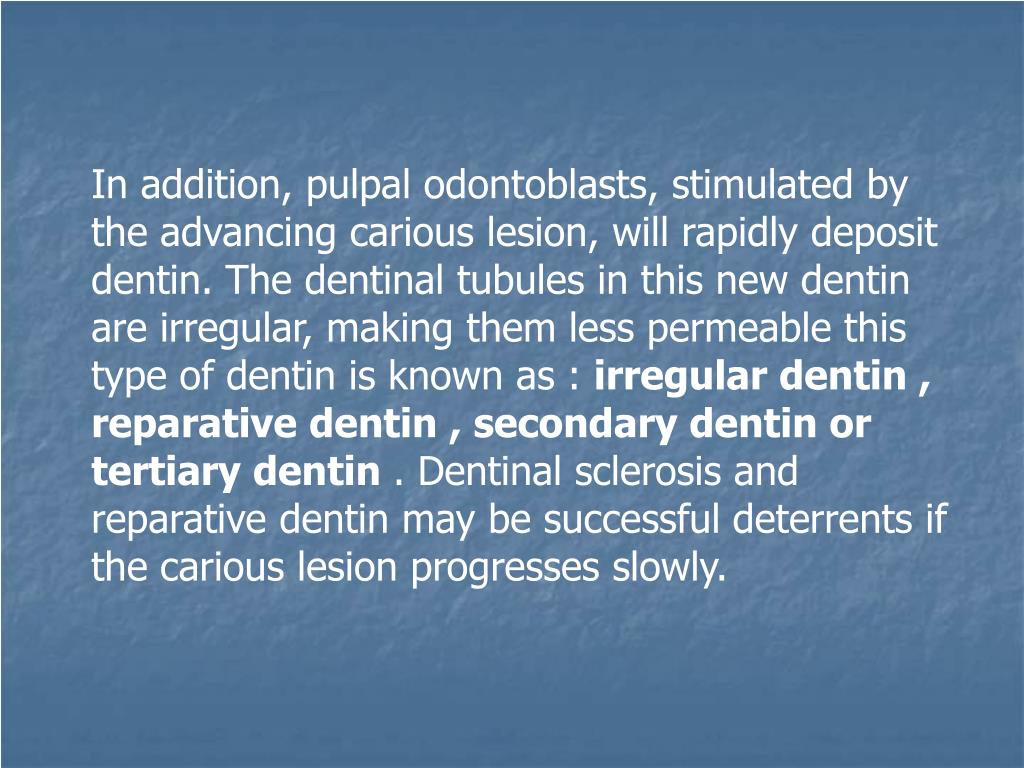 In addition, pulpal odontoblasts, stimulated by the advancing carious lesion, will rapidly deposit dentin. The dentinal tubules in this new dentin are irregular, making them less permeable this type of dentin is known as :