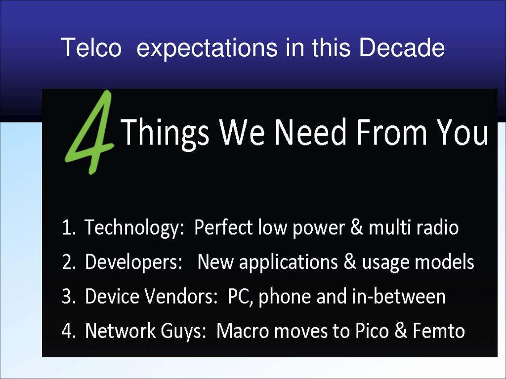 Telco  expectations in this Decade