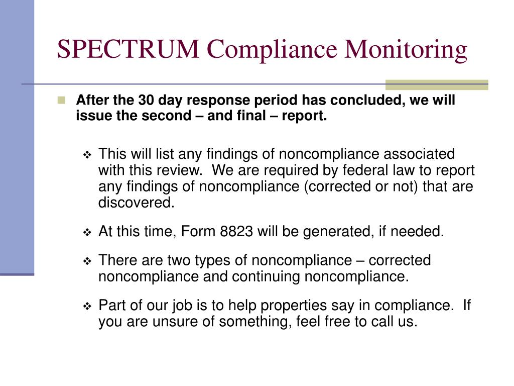 SPECTRUM Compliance Monitoring