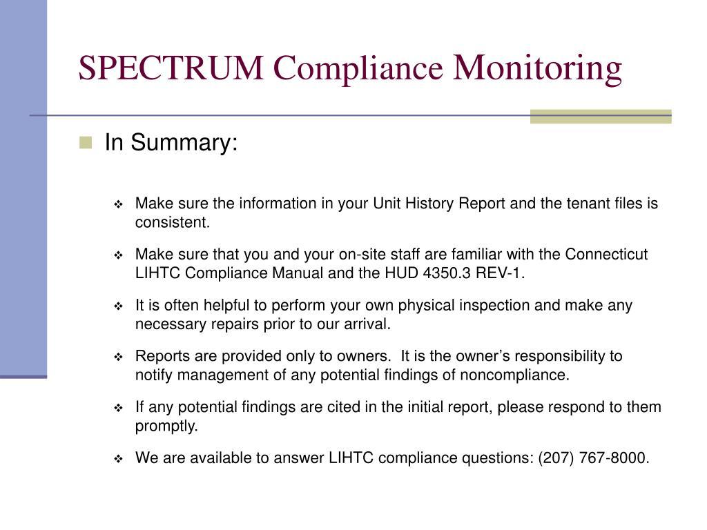 SPECTRUM Compliance