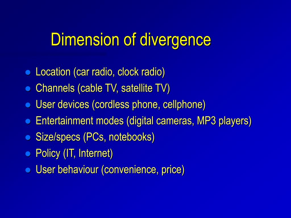 Dimension of divergence