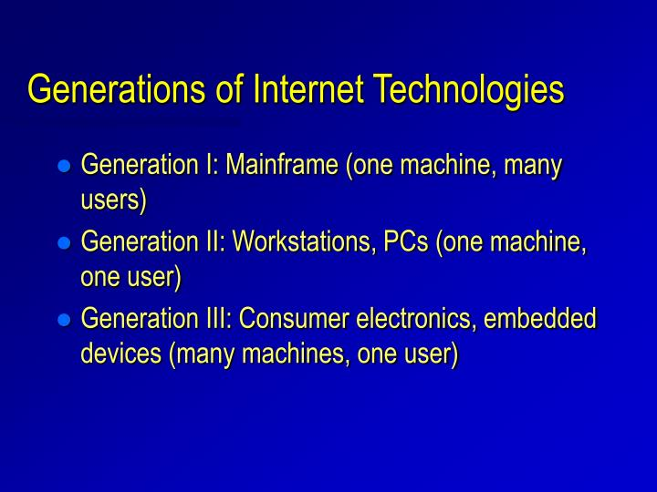 Generations of internet technologies