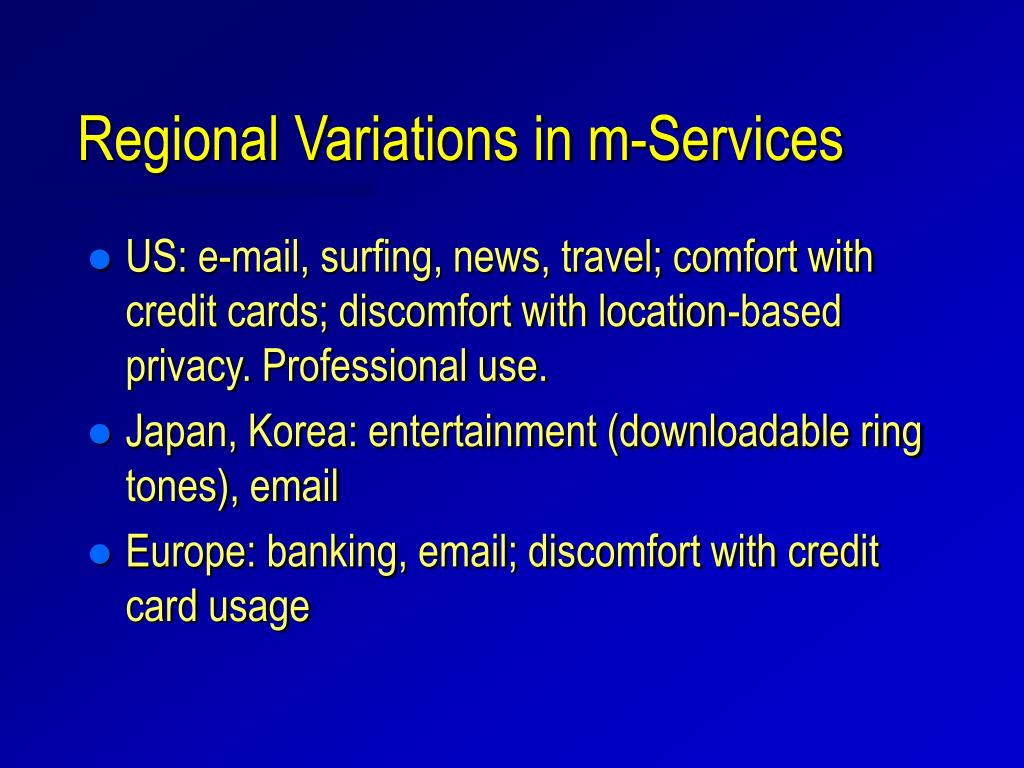 Regional Variations in m-Services