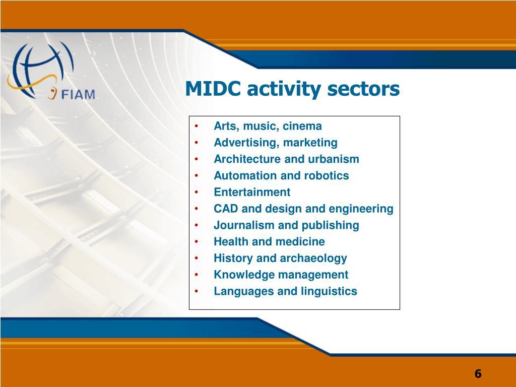 MIDC activity sectors