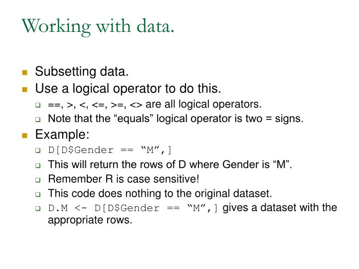 Working with data.