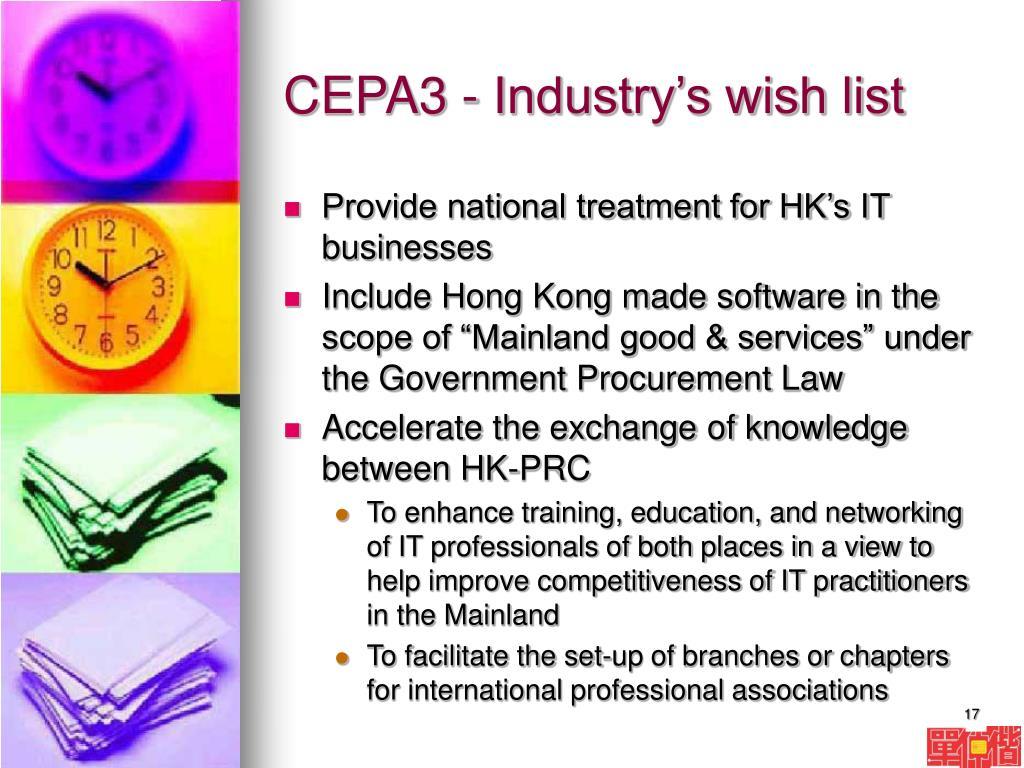CEPA3 - Industry's wish list