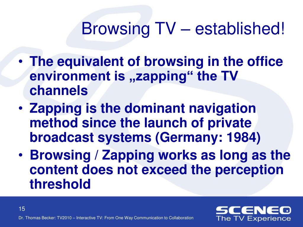 Browsing TV – established!