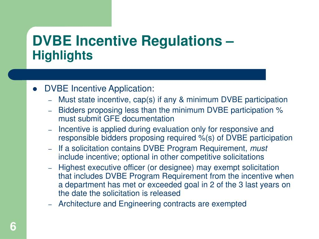DVBE Incentive Regulations –
