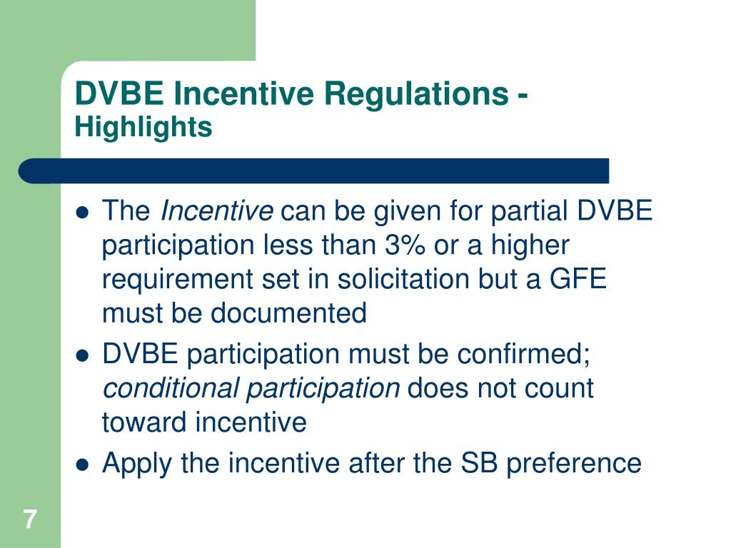 DVBE Incentive Regulations -