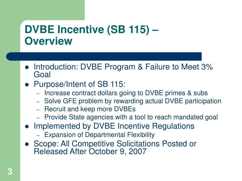 DVBE Incentive (SB 115) –