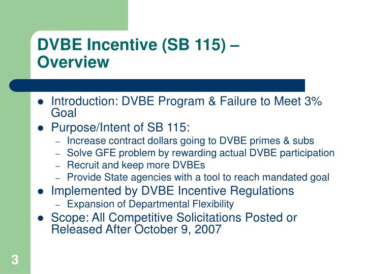 Dvbe incentive sb 115 overview