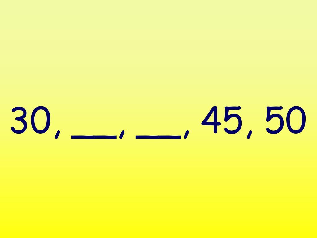 30, __, __, 45, 50