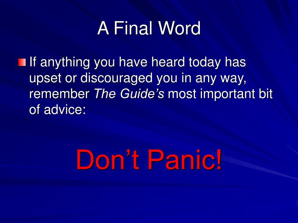 A Final Word