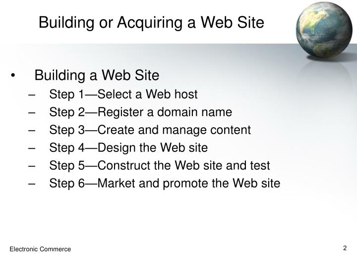 Building or acquiring a web site