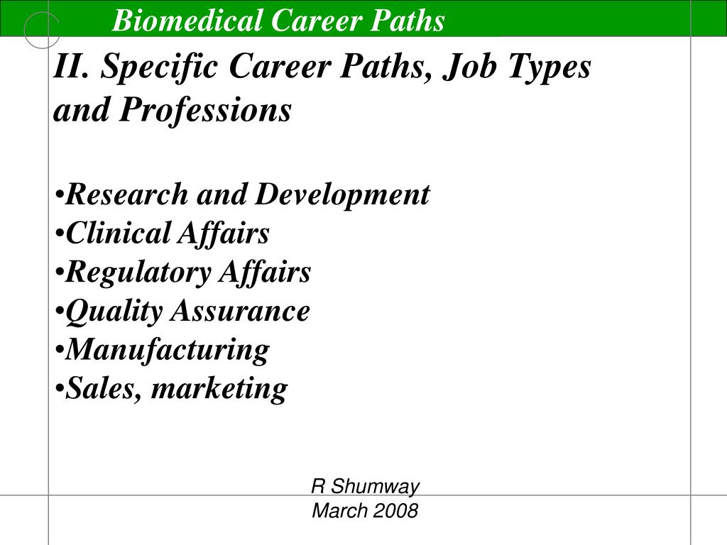 II. Specific Career Paths, Job Types and Professions