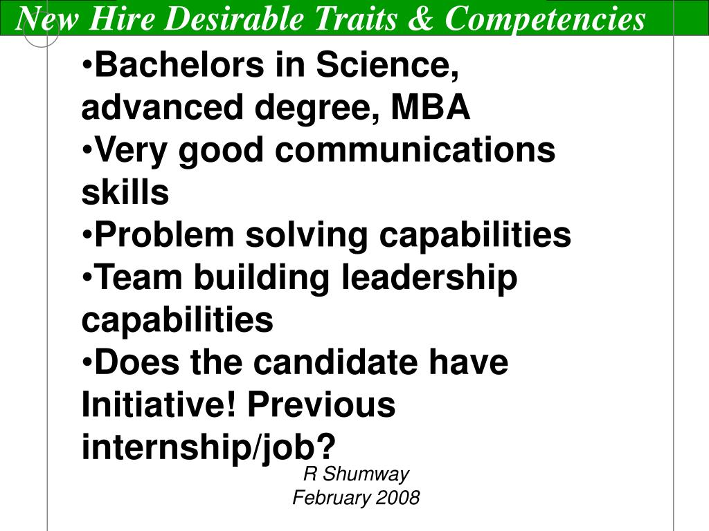 New Hire Desirable Traits & Competencies