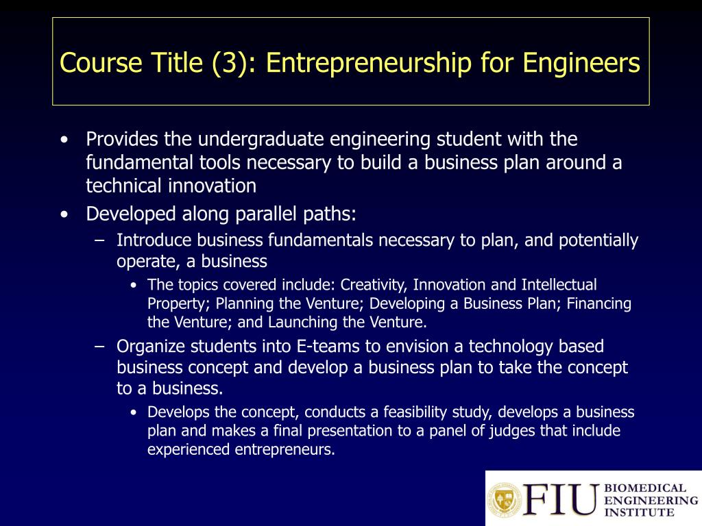 Course Title (3): Entrepreneurship for Engineers
