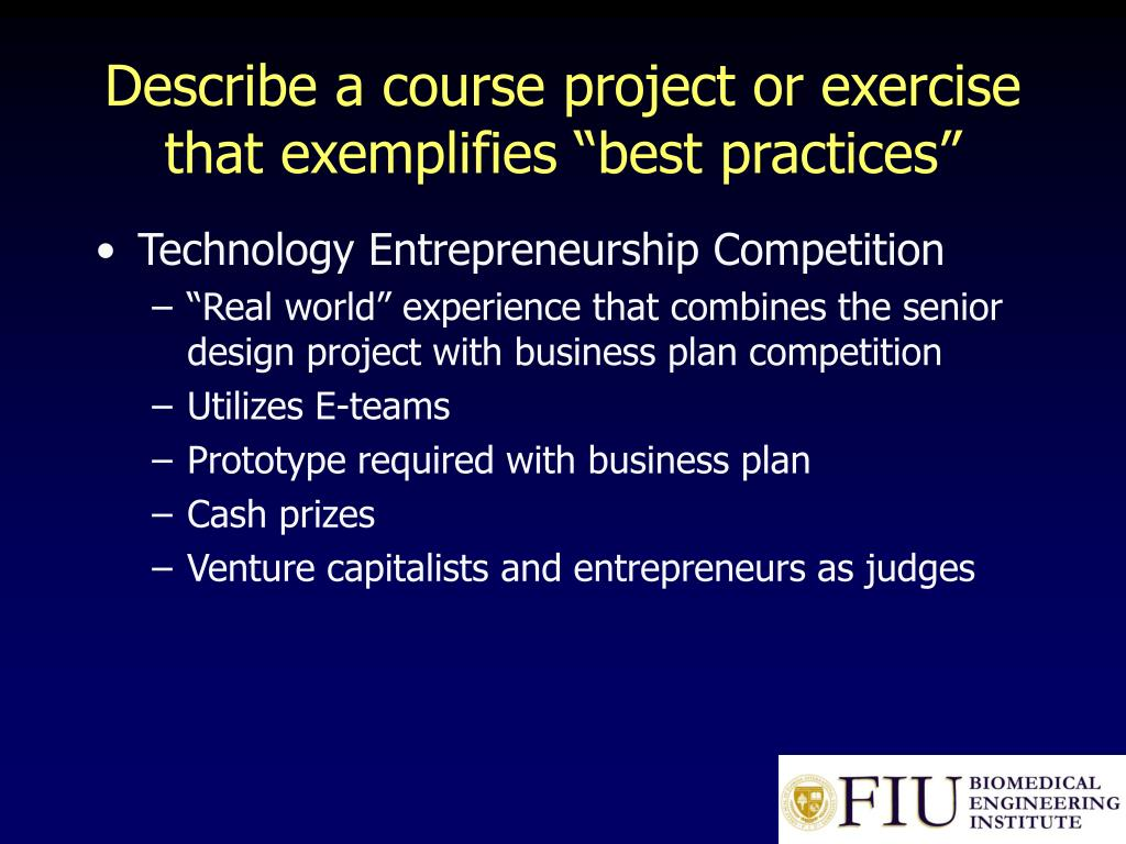 "Describe a course project or exercise that exemplifies ""best practices"""