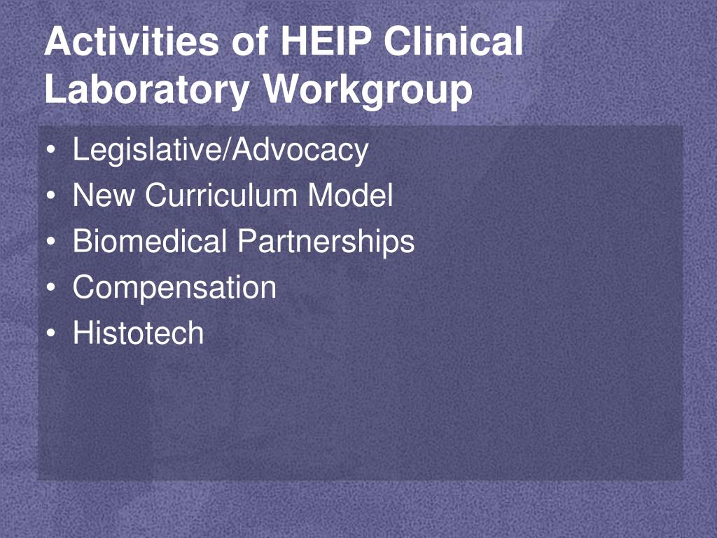 Activities of HEIP Clinical Laboratory Workgroup