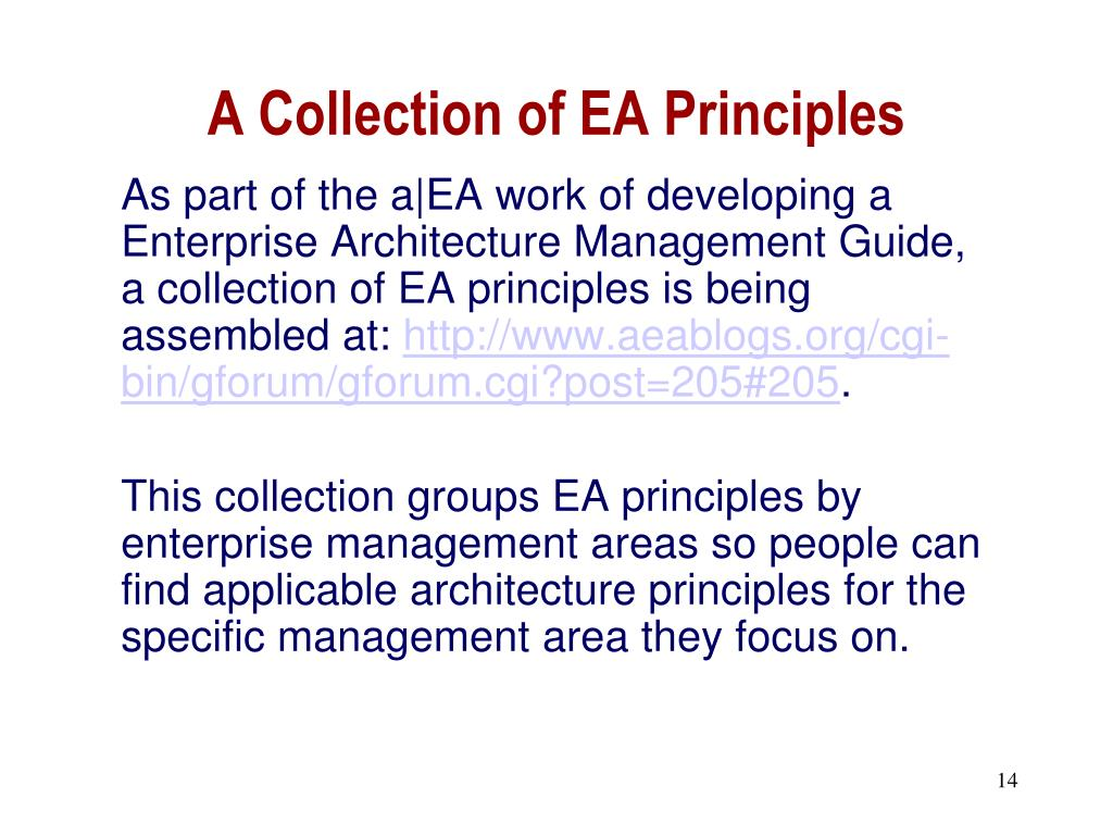 A Collection of EA Principles